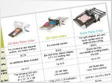 AccuQuilt Fabric Cutters Comparison Chart
