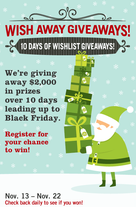 Wish Away Giveaways! 10 Days of Wishlist Giveaways! - We're giving away $2,000 in prizes over 10 days leading up to Black Friday. - Register for your chance to win!