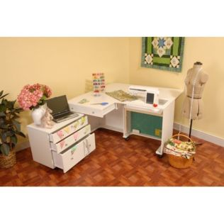 Kangaroo & Joey White Ash Sewing Cabinet (K8811) - shown expanded for sewing.
