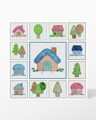 GO! Houses and Trees by Reiko Kato Machine Embroidery Set by Marjorie Busby (BQ-HTe)