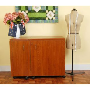Wallaby (Teak) Sewing Cabinet (K8405) - shown expanded for sewing.