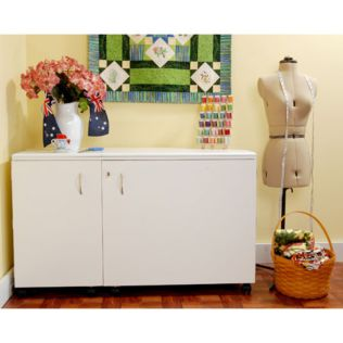 Aussie (White Ash) Sewing Cabinet (K8611) - shown expanded for use.