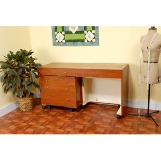 Kangaroo & Joey (Teak) Sewing Cabinet (2-Piece Set) (K8805) - shown expanded during use.  The Joey rolling storage drawers are on the far left.