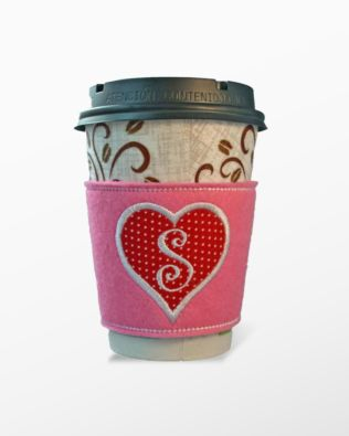 Monogrammed Heart Coffee Cozies