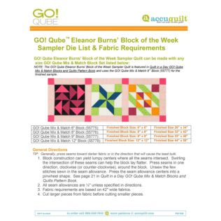 GO! Qube Block of the Week Sampler Quilt by Eleanor Burns Die List & Fabric Requirements