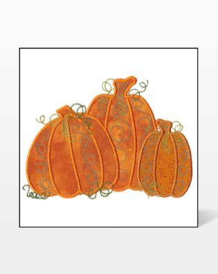 GO! Pumpkin Triple #2 Embroidery Design by V-Stitch Designs