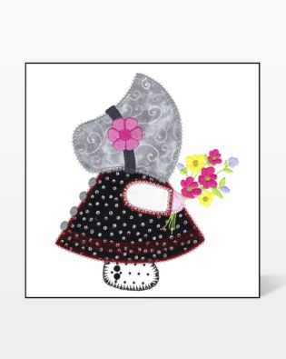 GO! Sunbonnet Sue with Flowers Embroidery Design by V-Stitch Designs
