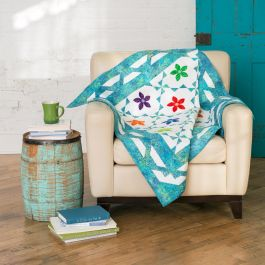 GO! Qube 6 Rick Rack Flower Throw Free Quilt Pattern