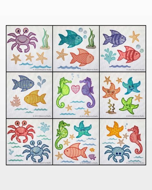 GO! Sea Life Medley Machine Embroidery Designs Mega Set by Marjorie Busby
