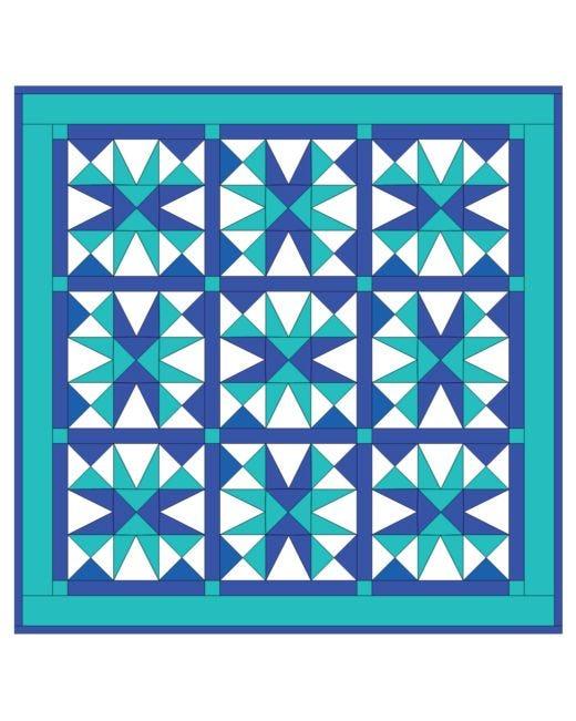 Go Cool Blue Star Quilt Pattern Accuquilt