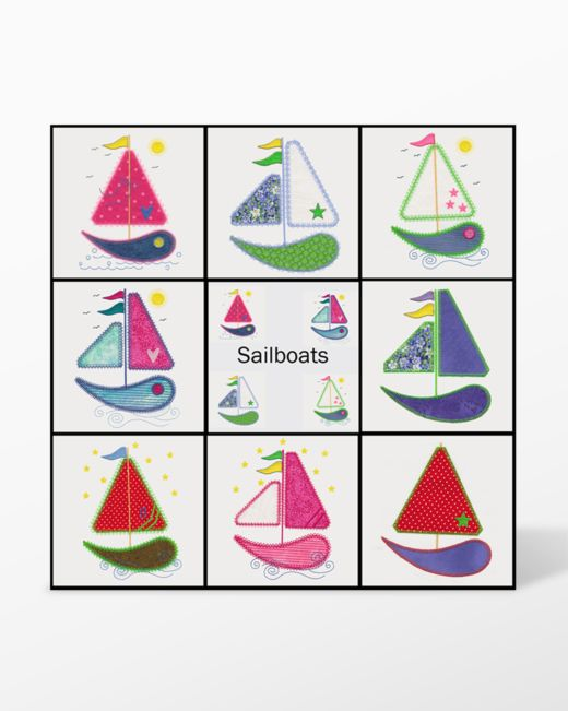 GO! Sailboats Embroidery Designs by V-Stitch Designs