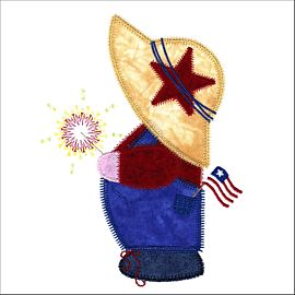 GO! Patriotic Overall Sam Embroidery Design by V-Stitch Designs