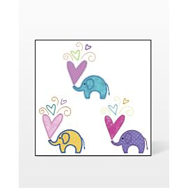 GO! Small Elephants with Hearts Embroidery Design by V-Stitch Designs