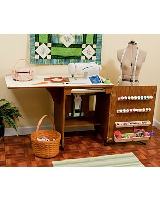 Arrow Sewnatra (Oak) Sewing Cabinet - shown opened for sewing.