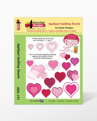 Applique Quilting Hearts Embroidery Designs CD for GO!