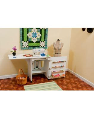 Arrow Sewnatra (White) Sewing Cabinet - shown open for sewing.