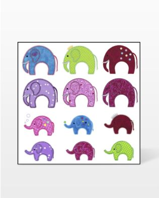 GO! Elephants Embroidery Designs by V-Stitch Designs