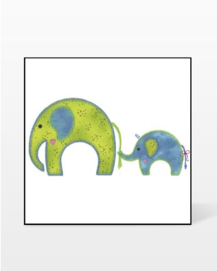 GO! Mom and Baby Elephant Embroidery Design by V-Stitch Designs