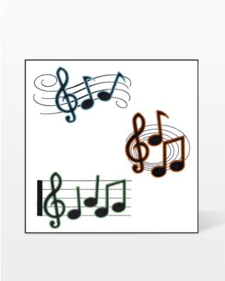 GO! Musical Notes Trio Embroidery Design by V-Stitch Designs