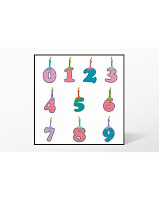 GO! Numbers with Candles Embroidery Designs by V-Stitch Designs (VQ-NC)