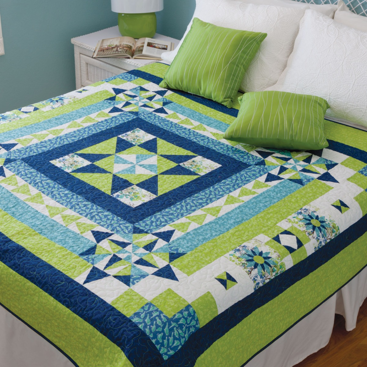FREE AccuQuilt GO! Boxing the Compass Throw Quilt Pattern
