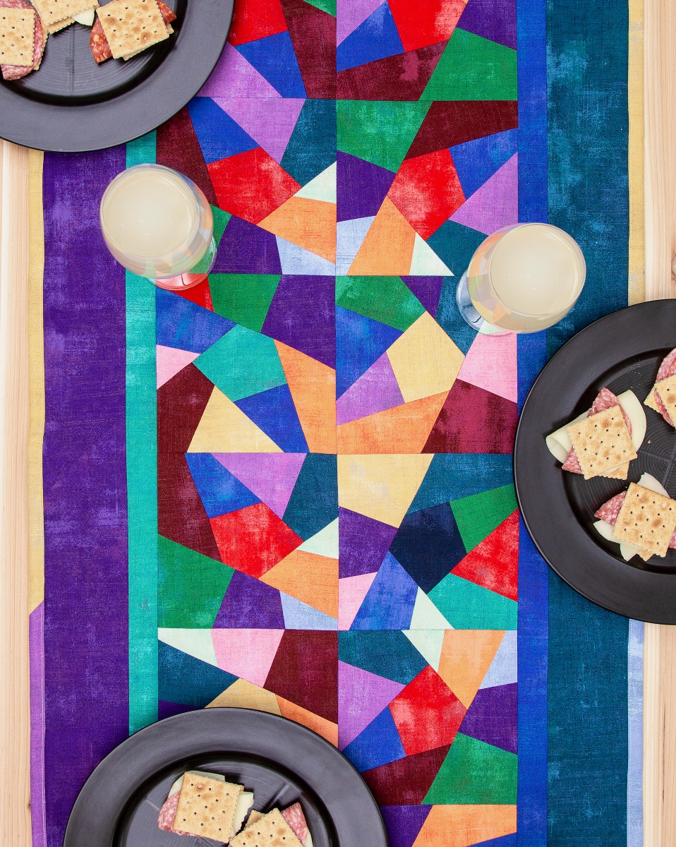 AccuQuilt GO! FREE Crazy Quilt Stained Glass Table Runner Pattern