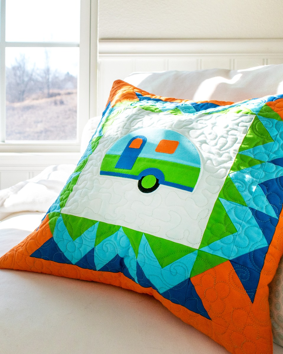 FREE AccuQuilt GO! A-Camping We GO Pillow Pattern