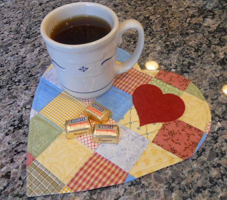 AccuQuilt GO! Scrappy Heart Mug Rug Free Pattern
