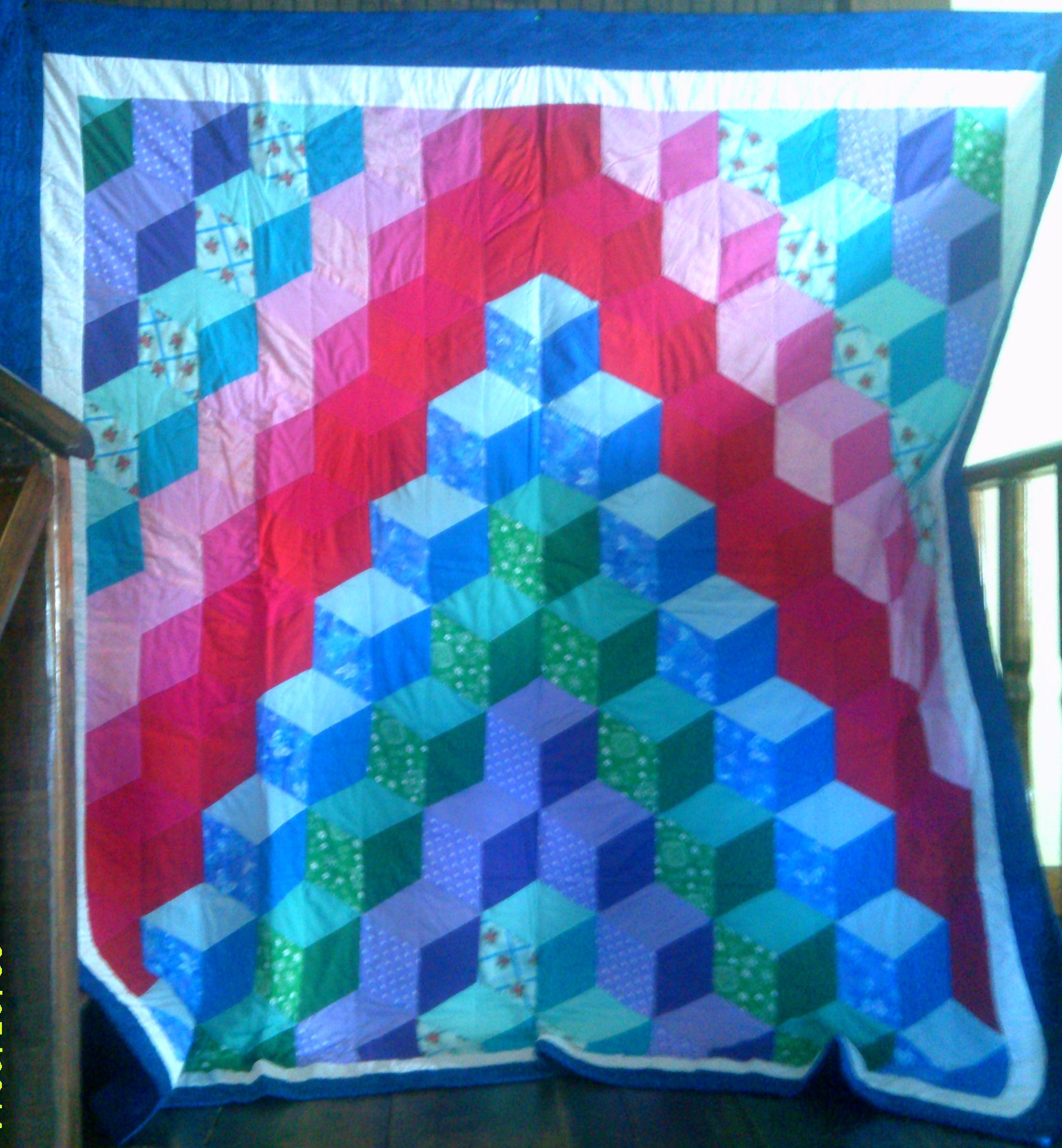 Tumbling Blocks Baby Quilt Pattern.Tumbling Block