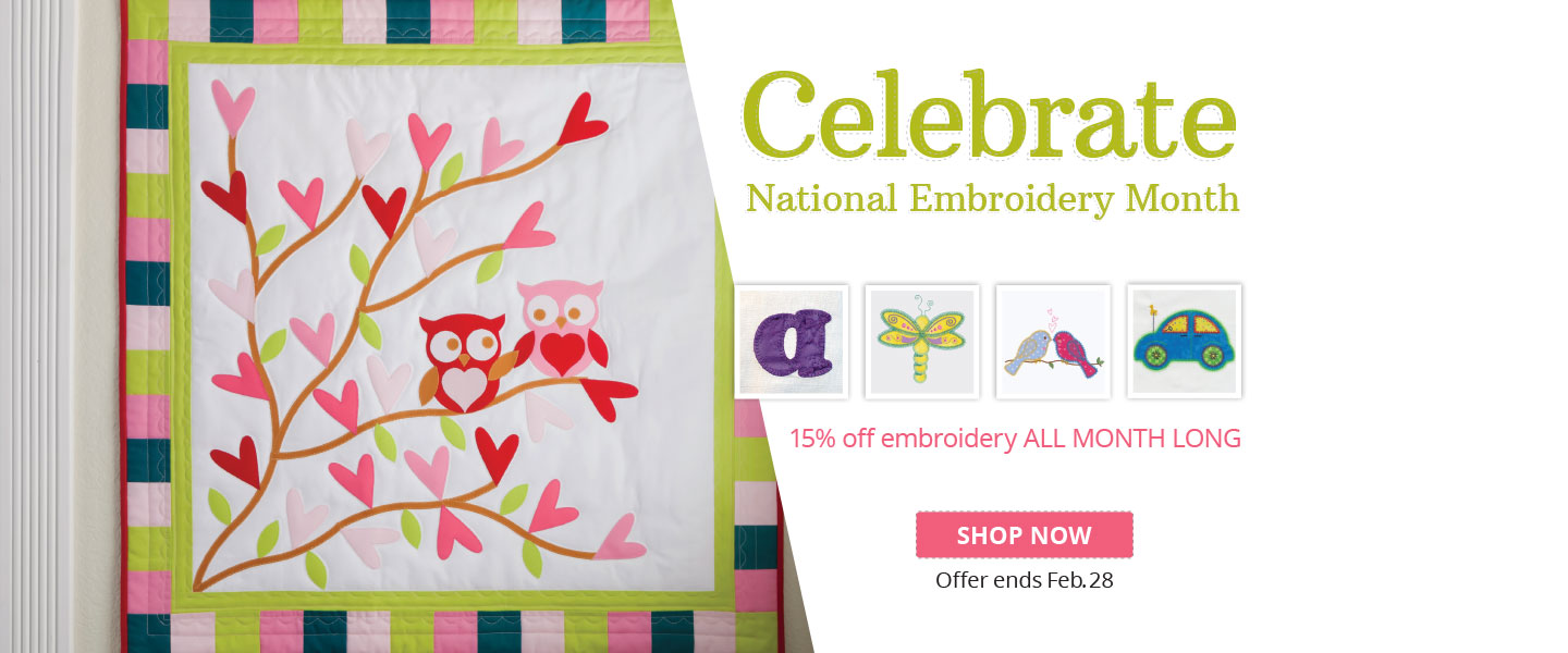 Save 15% Off AccuQuilt GO! Embroidery Downloadable Designs