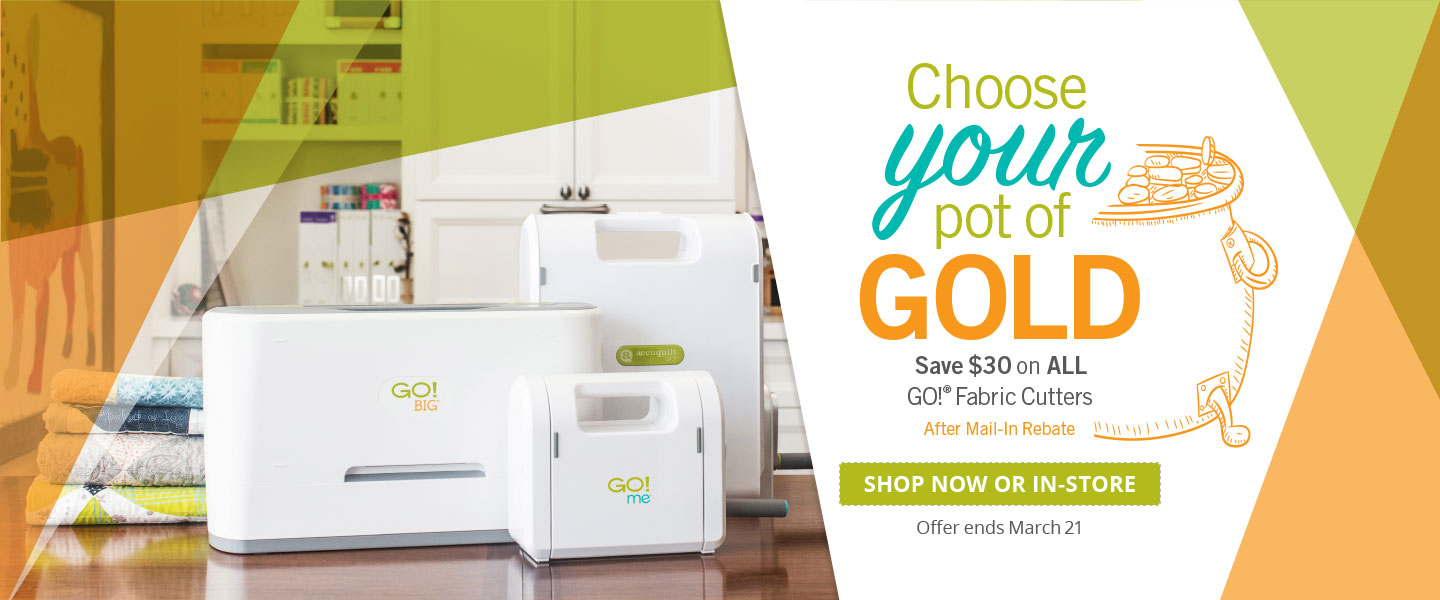 $30 Rebate on All GO! Fabric Cutters